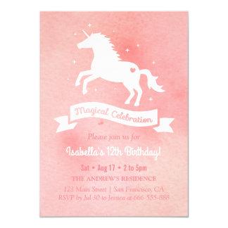 White Unicorn Watercolour Girls Birthday Party Card