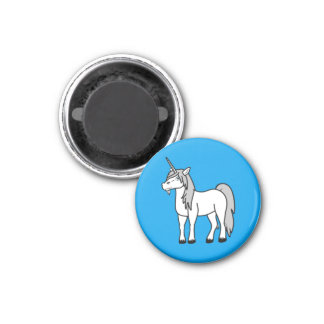 White Unicorn with Silver Mane 3 Cm Round Magnet