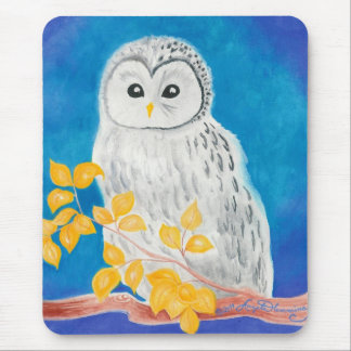 White Ural Owl Mouse Pads