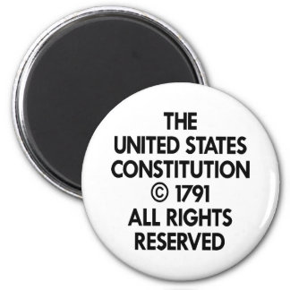 White Us Constitution Reserved 6 Cm Round Magnet