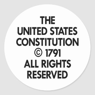 White Us Constitution Reserved Classic Round Sticker