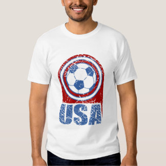White USA Soccer Fan Distressed T-Shirt