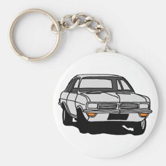 White Vauxhall Viva HC Basic Round Button Key Ring