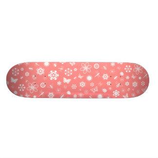 White Vector Bugs & Flowers (Poppy Red Background) Skate Board Decks