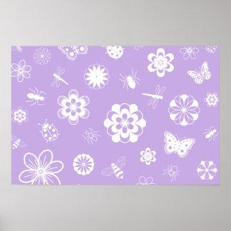 White Vector Bugs & Flowers (Version B Purple) Poster
