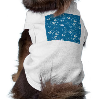 White Vine and Flower Pattern on Blue Doggie T Shirt