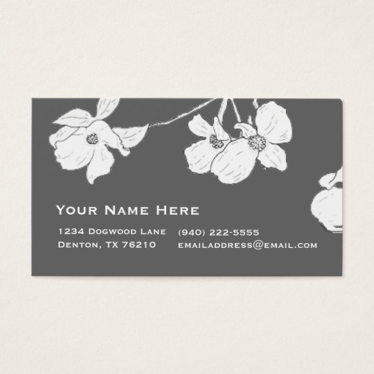 White Vintage Dogwood on Grey Business Card