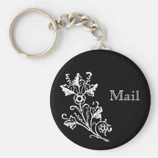 White Vintage Floral Etching Custom Mail Keychain