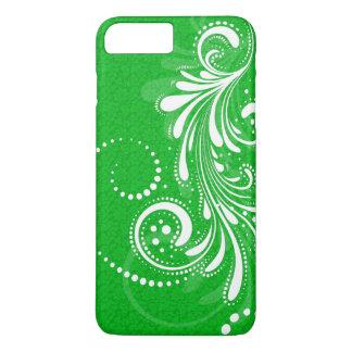 White Vintage Floral Swirl-Green Damasks iPhone 7 Plus Case