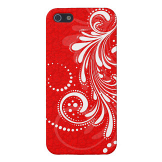 White Vintage Floral Swirl Red Damasks 2 Case For iPhone 5/5S