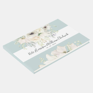 White Vintage Floral Wedding Guestbook
