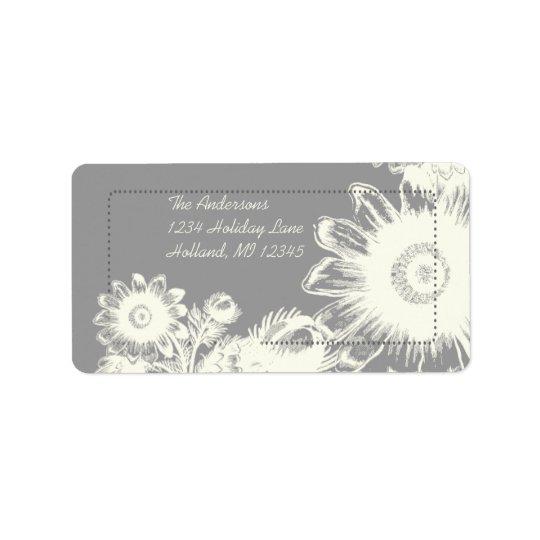 White Vintage Flower Charcoal Return Address Label