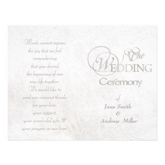 White vintage grungy wedding programs 21.5 cm x 28 cm flyer