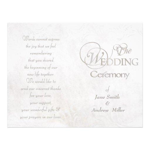 White vintage grungy wedding programs custom flyer