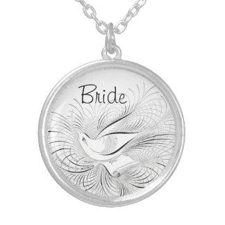 White Vintage Inspired Bird Bride Round Pendant Necklace