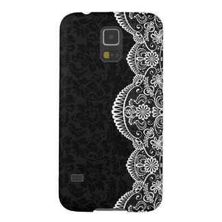 White Vintage Lace Black Damasks Galaxy S5 Case