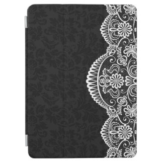 White Vintage Lace Black Damasks iPad Air Cover