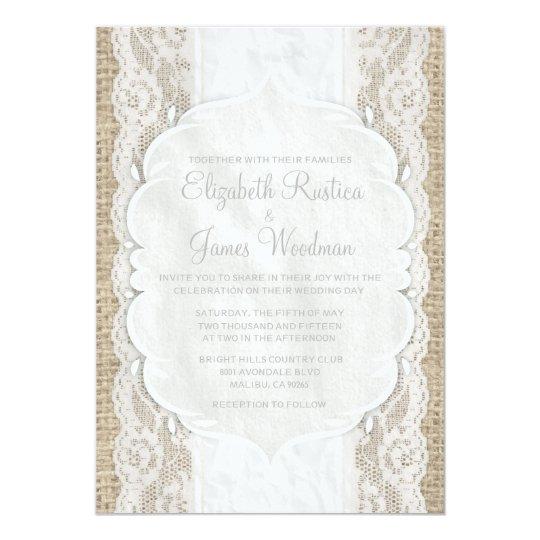 White Vintage Linen Burlap Lace Wedding Invitation