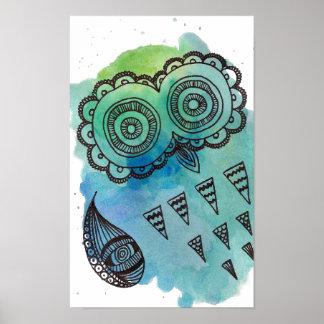 White Vintage Owl Doodle Poster. Poster