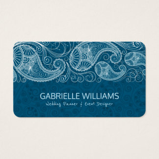 White Vintage Paisley Blue-Green background Business Card