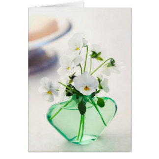 White Violas Flowers Green Vase Floral Pansy Card