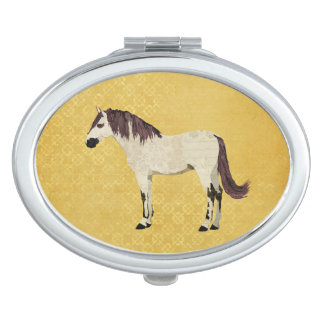 White & Violet Horse Compact Mirror