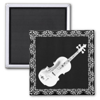 WHITE VIOLIN ON BLACK -magnet Magnet