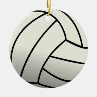 White Volleyball Team Round Ceramic Decoration