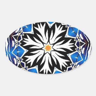 white vs blue tribal flake oval sticker