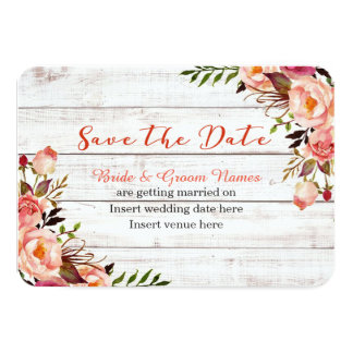 White Wash Floral Save The Date Card