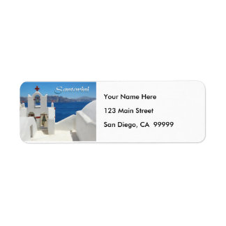 White Washed Church Blue SkY & Sea TEXT Santorini Return Address Label