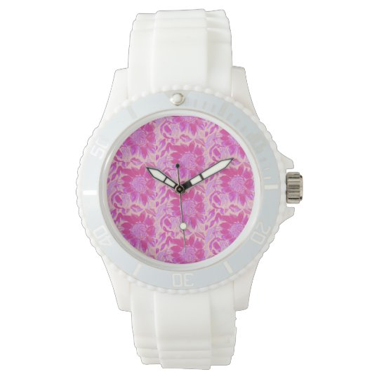 White watch with Pink flowers