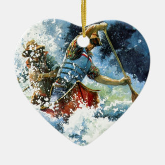 White Water Canoe Christmas Ornament