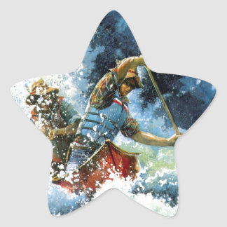 White Water Canoe Star Sticker