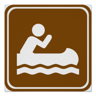 White Water Canoeing  Highway Sign Poster