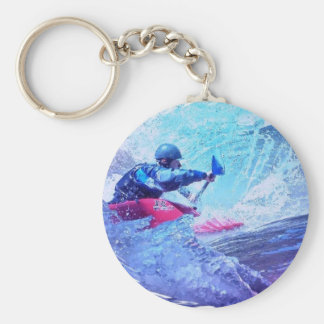 White Water Kayaker Basic Round Button Key Ring