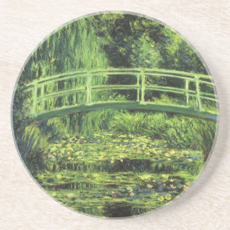 White Water Lilies by Monet, Vintage Impressionism Coaster