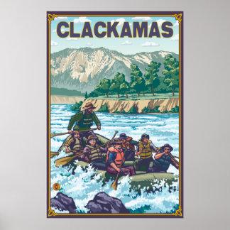 White Water Rafting - Clackamas, Oregon Poster