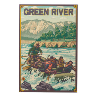 White Water Rafting - Green River, Washington Wood Canvases