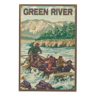 White Water Rafting - Green River, Washington Wood Wall Art