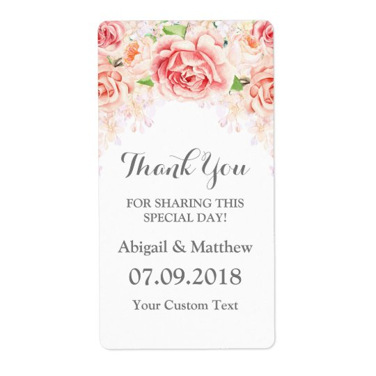 White Watercolor Floral Blush Wedding Labels