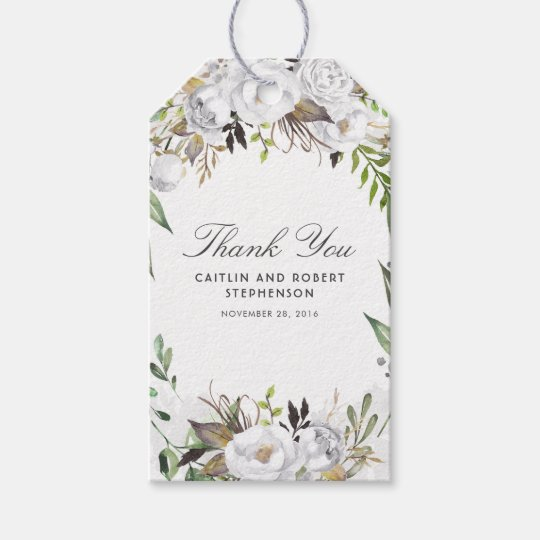White Watercolor Flowers Elegant Gift Tags
