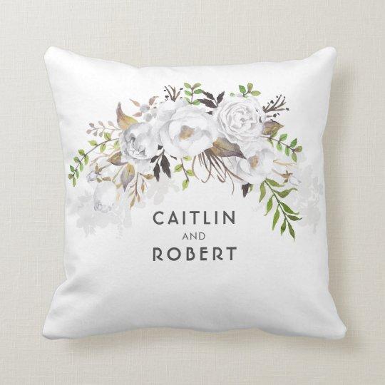 White Watercolor Flowers Elegant Romantic Cushion