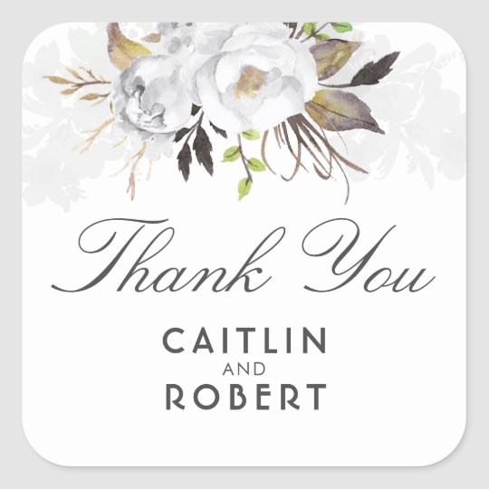 White Watercolor Flowers Elegant Thank You Square Sticker