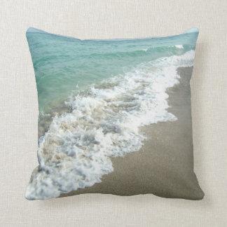 White Waves Crashing on Beach Shore Pillow