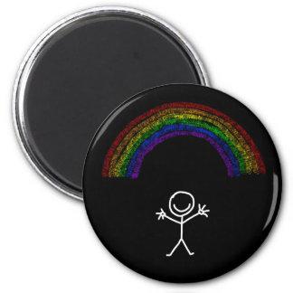 White waving stick man under a rainbow magnet