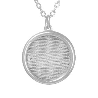 White Weave Mesh Look Round Pendant Necklace