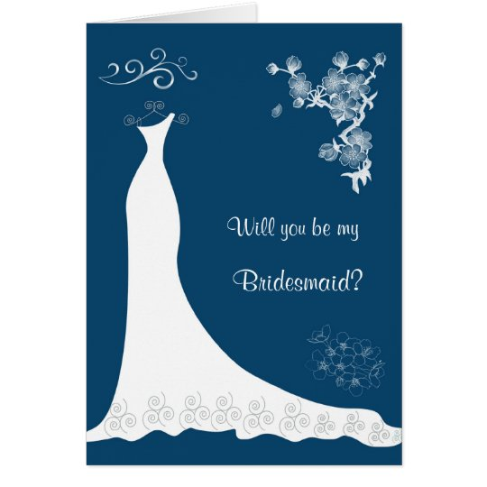 White Wedding dress, blossom on blue Bridesmaid Card