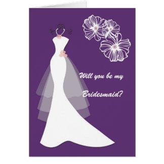White Wedding dress on purple Bridesmaid Request Greeting Card
