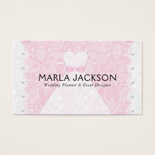 White Wedding Dress Pink Lace Business Card